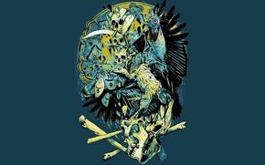 Картинка бабочки, глаз, птица, человек, черепа