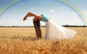 Картинка радуга, широкоэкранные, HD wallpapers, обои, тело, дерево, действие, листья, пшеница, девушка, поле, рожь, полноэкранные, изгиб, ...