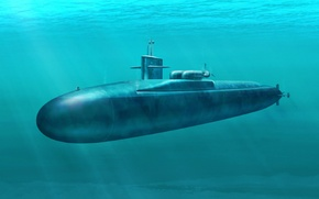 Картинка war, art, painting, submarine, USS FLORIDA SSGN 728