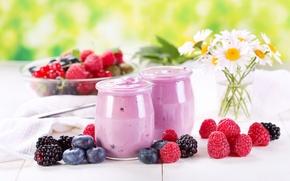 Картинка цветы, ягоды, малина, ромашки, черника, баночки, десерт, ежевика, йогурт