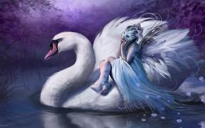 Обои ночь, Bente Schlick, лебедь, фея, GERMANY