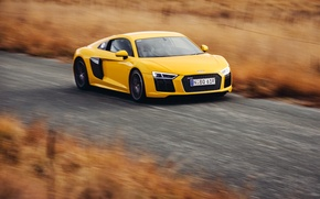 Картинка car, авто, Audi, ауди, скорость, yellow, speed, V10