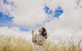 Картинка поле, небо, девушка, лицо, ветер, волосы, платье