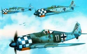Картинка рисунок, арт, Люфтваффе, FW-190A-6