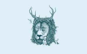 Картинка птица, минимализм, лев, олень, девочка, рога, косички, светлый фон, lion