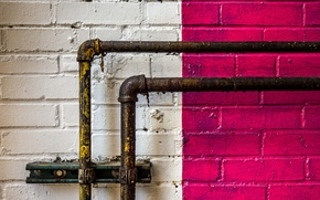 Обои стена, трубы, цвет