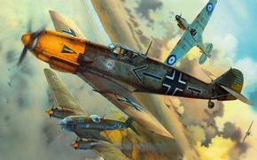 Картинка самолеты, Вторая мировая война, британские, немецкие, воздушные бои, Messerschmitt Bf-109E4