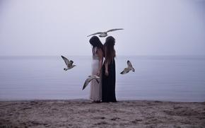 Картинка птицы, девушки, настроение