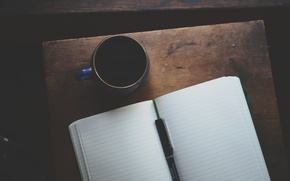 Обои ручка, тетрадь, ежедневник, кружка