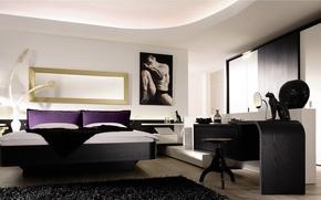 Картинка дизайн, дом, стиль, вилла, интерьер, спальня, modern sleeping room
