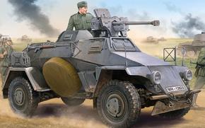 Картинка рисунок, арт, 8 см, Leichter Panzerspahwagen, Sd.Kfz.221, германский лёгкий бронеавтомобиль, Early version