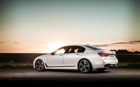 Картинка рассвет, тень, BMW, white, 730d