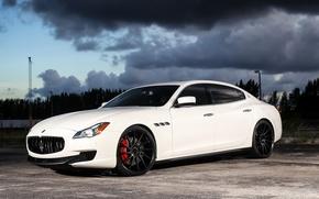 Картинка Maserati, Quattroporte, White