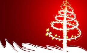 Обои красный, вектор, елка, новый год