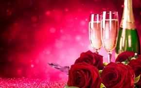 Обои цветы, блики, бутылка, розы, бокалы, красные, шампанское