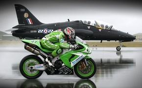 Обои Мотоцикл, самолёт, впп, на перегонки, скорость