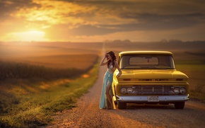 Картинка дорога, машина, авто, девушка, Chevrolet, простор