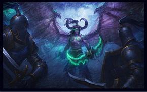 Картинка эльф, демон, demon, битва, wow, world of warcraft, Иллидан Ярость Бури, illidan stormrage