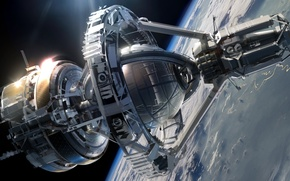 Картинка космос, фантастика, корабль, планета, звёзды, space, sky, stars, spaceship, крейсер, sci-fi, Ender's Game, Enders Game, ...
