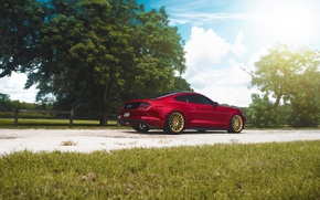 Картинка Mustang, Ford, Muscle, Light, Red, Car, Sun, Rear, 2015, Brakes