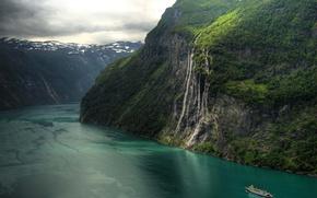 Картинка горы, природа, корабль, водопад, Норвегия, красиво, фьорд, Geirangerfjord, Seven Sisters Waterfall
