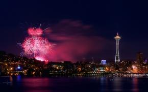 Картинка ночь, город, огни, феерверк, Seattle, панорамма, July 4