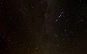 Обои персеиды, космос, звезды, падение