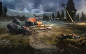 Картинка солдаты, трактор, чернобыль, сталкер, комбайн, S.T.A.L.K.E.R. 2