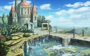Картинка облака, цветы, замок, цифровая живопись