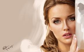Картинка девушка, лицо, рука, портрет, арт, угол, Krishan de Silva