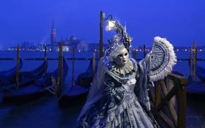 Обои город, карнавал, маскарад, Венеция, Италия, костюм