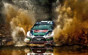 Картинка авто, брызги, гонка, спорт, ford, rally
