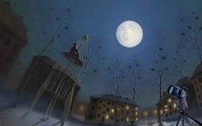 Картинка луна, почему мы так любим смотреть на звезды, игровая площадка, romiro, раздумья