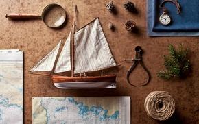 Картинка часы, корабль, предметы