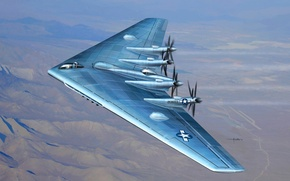 Картинка рисунок, ВВС США, тяжелый бомбардировщик, самолет, Northrop XB-35, экспериментальный, YB-35