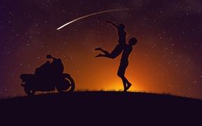 Картинка любовь, комета, мотоцикл, двое, kawasakizzr400