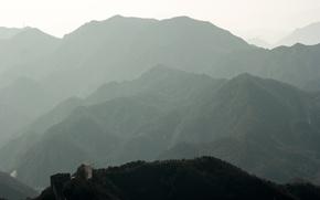 Картинка горы, туман, китай, гора, китайская стена