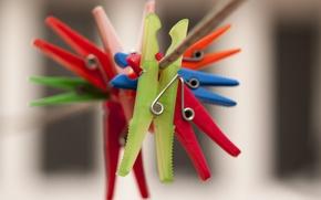 Картинка веревка, разноцветные, прищепки