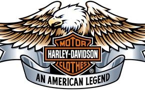 Обои logo, engine, eagle, Harley Davidson