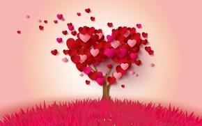 Обои дерево, сердце, сердечки, love, heart, pink, romantic