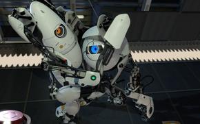 Картинка робот, Portal, лаборатория, Portal 2, обнимаются