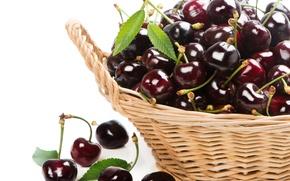 Обои вишня, ягоды, корзинка, fresh, черешня, sweet, cherry, berries
