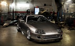Картинка серый, тюнинг, гараж, спорткар, Toyota, tuning, Supra, передок, Тойота, Супра