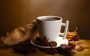 Обои анис, напиток, горячий, дольки, орехи, бадьян, шоколад, пряности, корица