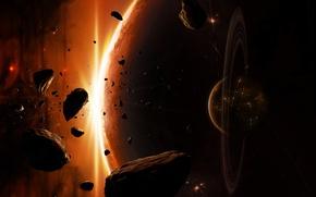 Обои планеты, осколки, вспышка