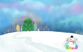 Картинка облака, снег, украшения, рисунок, сугробы, подарки, домики, снеговик, ёлка, тропинка