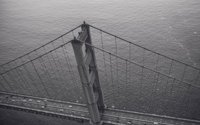 Картинка USA, United States, cars, bridge, black and white, traffic, architecture, height, structure, America, b/w, construction, …