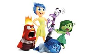 Картинка эмоции, мультфильм, белый фон, Disney, Страх, Pixar, Головоломка, персонажи, Радость, Inside Out, Гнев, Брезгливость, Печаль