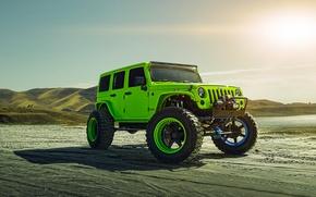 Картинка Green, Front, Sun, Forged, Custom, Wrangler, Jeep, Wheels, Track, ADV1, Function