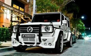 Картинка Mercedes, white, hamann, tuning, night, street, g55